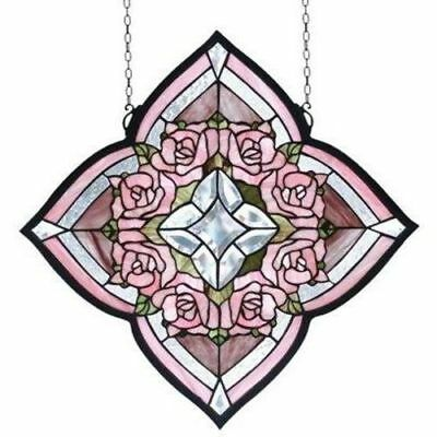 Ring Of Roses Stained Glass Window- Free Shipping