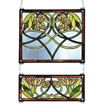 Waterlily 2 Pieces Stained Glass Window- Free Shipping