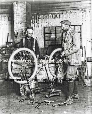 Old/Antique/Vintage/Unique/Interesting Bike/Bicycle Repair Blacksmith 1897 Photo