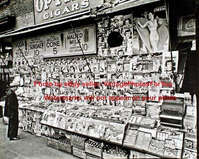 Old Antique Vintage New York City News Stand Magazine Newspaper Vendor Photo