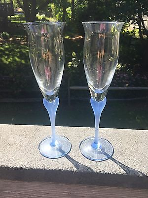 Pair Mikados Sea Mist Frosted Stem Fluted Champagne Sapphire BLUE (2)