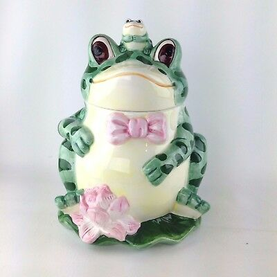 "Jay Import Ceramic Happy Frog with Baby Frog Cookie Jar Canister 12""  x 9"""