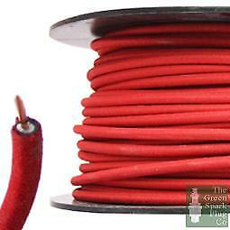 7mm HT Ignition Lead Cable - Wire Core Cotton Braided Red