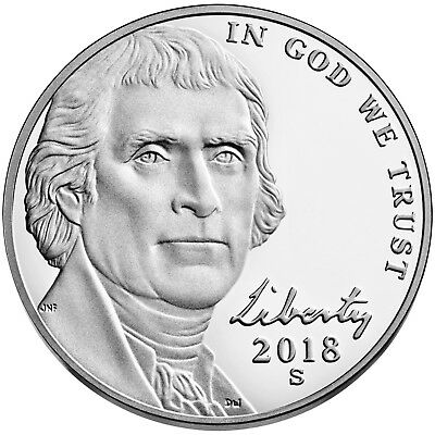 FREE SHIP 2018 S Proof Jefferson Nickel 5c Gem Deep Cameo Directly from US Mint