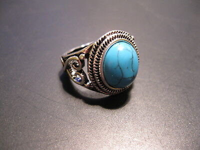 .925 Silver Ring with Turquoise Stone/Size 7.5/New