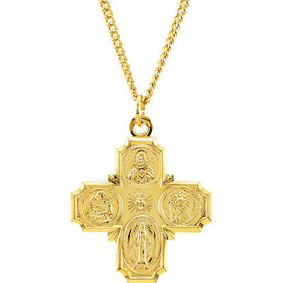 """24KT GP 1 3/8 x 1 1/8"""" SS Four-Way Medal with 24"""" Chain- Laura Ingraham Cross"""