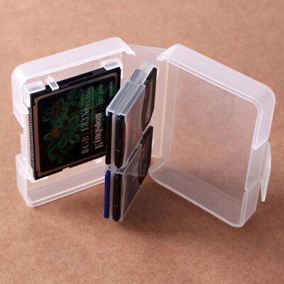 CF/SD Card Compact Flash Memory Card Holder Box Storage Transparent Plastic Case