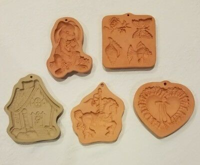 5 Cotton Press and brown bag molds, cookie molds Valentine heart, bunny rabbit