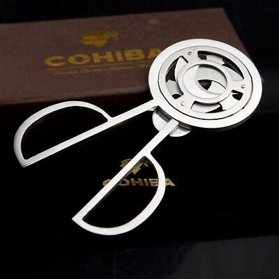 COHIBA Silver Cigar Cutter Knife Gift Pocket Stainless Steel Scissors 3 Blade