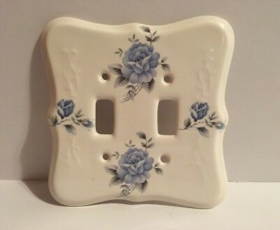 Vintage VB Athena Porcelain Double Light Switch Cover White w/ Blue Flowers