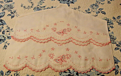 Pair of  Vintage Hand Embroidered Tubing Pillowcases made into hangercovers, NEW