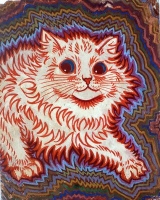 Louis Wain Psychedelic Red & Green Pet Cat Painting Fine Art Real Canvas Print