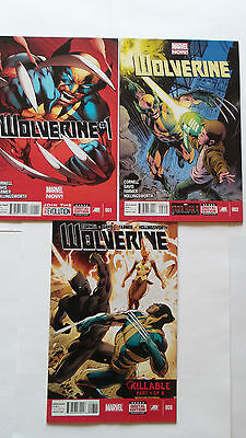 Wolverine (2013) Lot of 3, #1,2 & 8 Marvel Comics VF to NM-