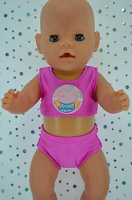 "Play n Wear Doll Clothes For 17"" Baby Born CANDY PINK SWIMMING BIKINI"