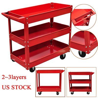 2~3 Shelves Workshop Rolling Tool Trolley Garage Cabinets Utility Carts 220lbs