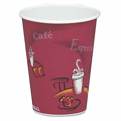 Solo Cup 378SI Bistro Design Hot Drink Cups, Paper, 8 Oz., Maroon, 20 Bags Of 50