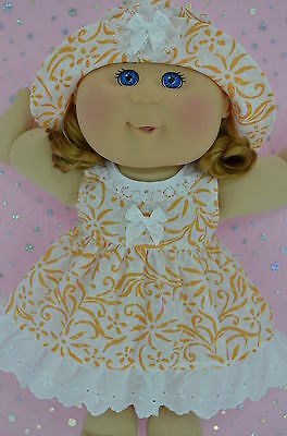 "Play n Wear Doll Clothes For 14"" Cabbage Patch WHITE/ORANGE FLOWER DRESS~HAT"