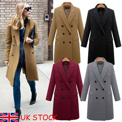 Winter Warm Women Girl Wool Lapel Long Coat Trench Parka Jacket Overcoat Outwear