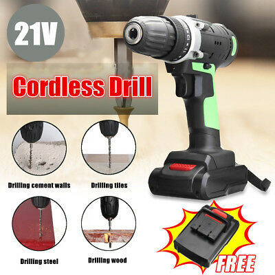 21V Cordless Drill Rechargeable Electric Screwdriver Power Tool 2 Li-Battery Set