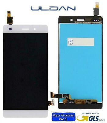 LCD DISPLAY Huawei Ascend P8 Lite ALE-L21 FRAME Per TOUCH SCREEN VETRO BIANCO