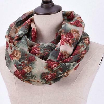 Women's Scarf Soft Chunky Warm Floral Cotton Long Loop Infinity Hood  Scarf Pro.