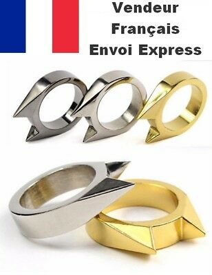 Bague Chevaliere Homme Acier 2 Pic Poing Americain Self Defense Swag Mode Classe