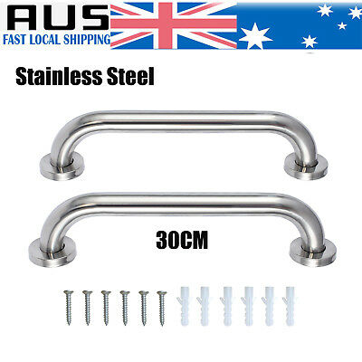 2PC Stainless Steel Grab Bar Shower Bathroom Wall Safety Handle Grip Towels Rail