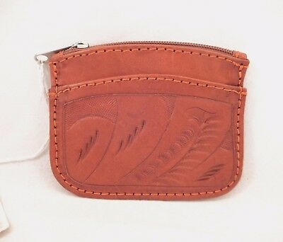 Vintage Hand Tooled Brown Leather Coin Purse Made in Paraguay New old Stock