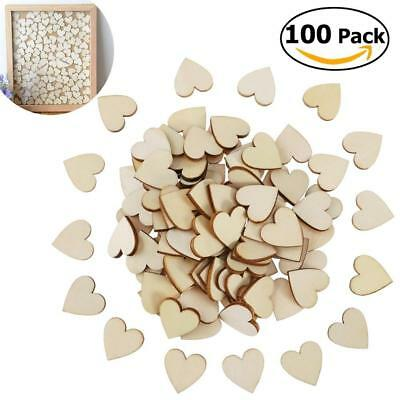 100pcs Mixed Heart Shaped Wood Chips DIY Accessories Decorations Decal