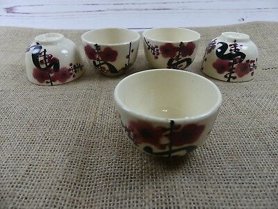 5 Vintage Japanese Pottery Sake Cup  Hand painted Traditional Plum Design