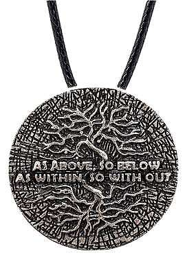 As Above So Below Tree of Life Pendant Hermeticism Kabbalah Cord Necklace