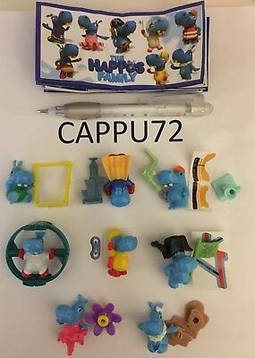 THE HAPPOS FAMILY-COMPLETA 8 PZ+8 BPZ da SE259 a SE266 kinder sorpresa 2017/2018
