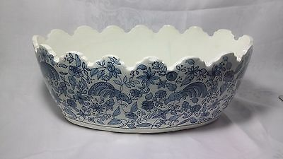 Vintage blue & white flowers oval ceramic planter made in Spain