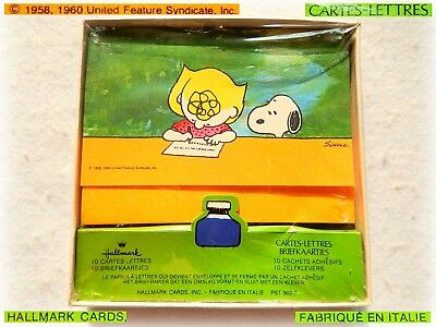 VTG PEANUTS Snoopy Sally Brown POSTALETTES Cartes letters Briefkaartjes Adhesif