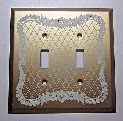 1 vintage satin brass plated XL jumbo Milady Fair 2 gang switch wall plate cover
