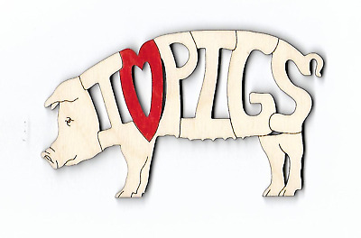 I love Pigs laser cut and engraved wood Magnet Or Ornament