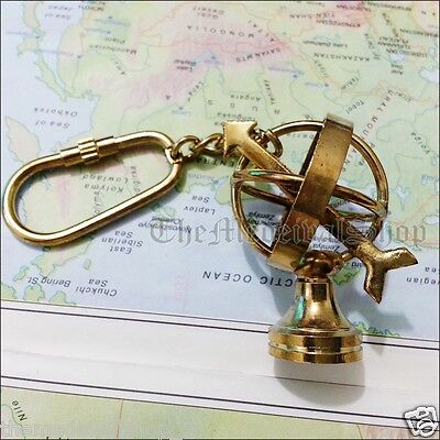 Solid Brass Sphere Astrolabe Armillary Globe Key-Chain-Ring Decor Vintage Gift