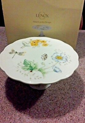 "NWT Box Lenox Bone China Butterfly Meadow 10"" Medium Pedestal Cake Stand Plate"