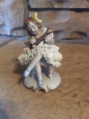"Antique Dresden Sitzendorf ""Girl Playing Lute"" Porcelain Figurine Germany RARE"