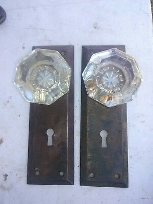 pair off old antique glass door knobs fasten to back plates, crafting hooks