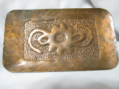 "ORIGINAL ANTIQUE ARTS & CRAFTS HAND COPPER DRESSER TRINKET DISH 3"" x 5"" FINE"