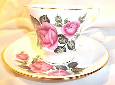 Vintage Imperial Fine Bone China England Cup And Saucer. Pinks Rose Gold Trim