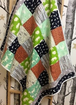 Baby Boy Toddler Woodland Handmade Large Quilt Stag Bear Baby Shower