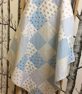 Blue Baby Boy Patchwork Quilt Toddler Quilt Chambray Crowns 100% Cotton