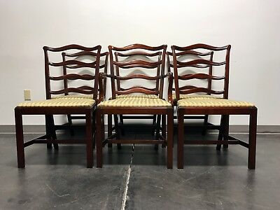 GEORGETOWN GALLERIES Solid Mahogany Ladder Back Dining Chairs - Set of 6