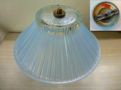 Vtg.1940's1950's  Blue Glass Ribbed Ceiling Light Shade with Electrical  Fixture