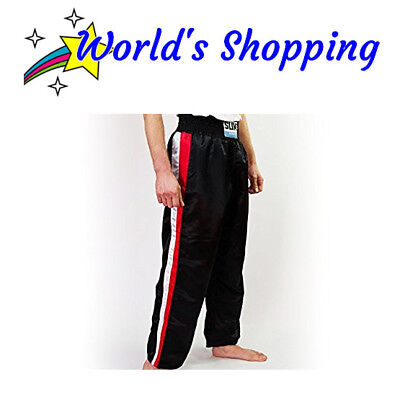 Pro Black Kickboxing Trousers With Side Red & White Stripes - Adults 5/180 CM