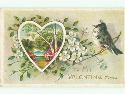 Pre-Linen valentine CUTE BIRD ON FLOWER BRANCH AND COUNTRY SCENE IN HEART J0888
