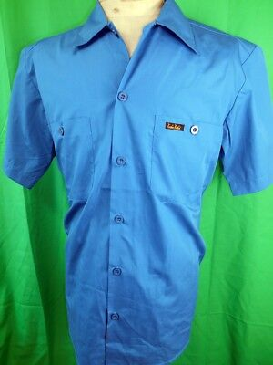 NOS Route 66 Blue Poly/Cotton Rockabilly Hot Rod Short Sleeve Kustom Shirt M