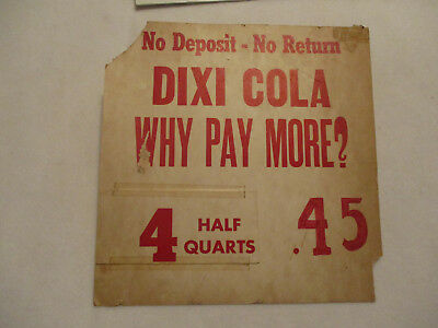 Dixie Cola advertising window display sign cardboard double sided